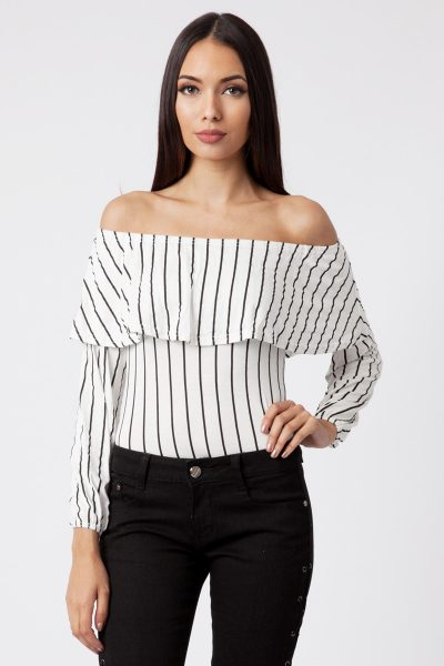 white striped bardot frill bodysuit
