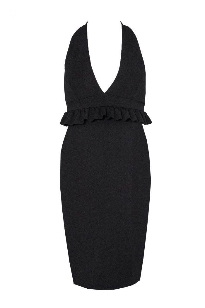 Bella Black Halter Neck Plunge Ruffle Sleeveless Midi Dress