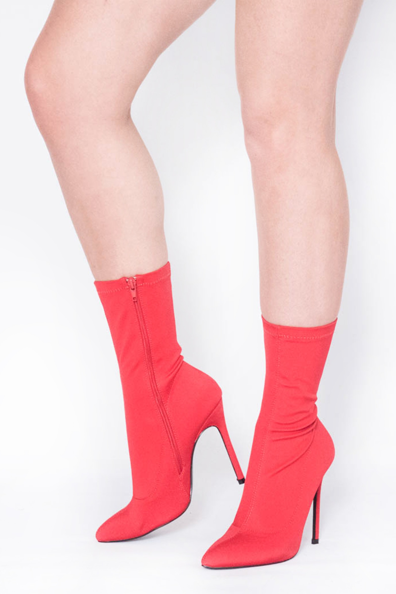 57bd22a8073 Layla Red Pointed Stiletto Sock Boots