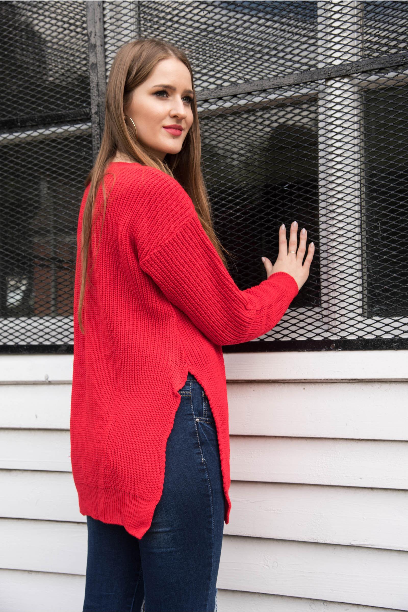 Ria Grey Round Neck Side Split Knitted Jumper