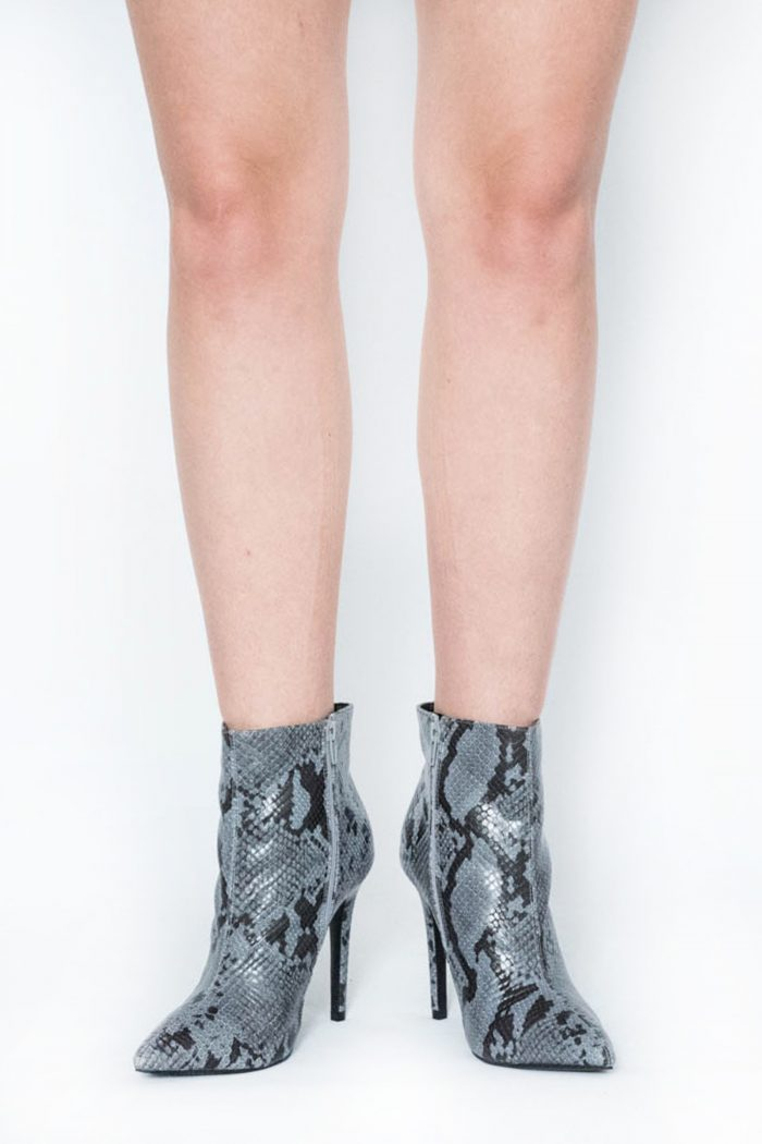Bailey Grey Snake Pointed Toe Ankle Boots