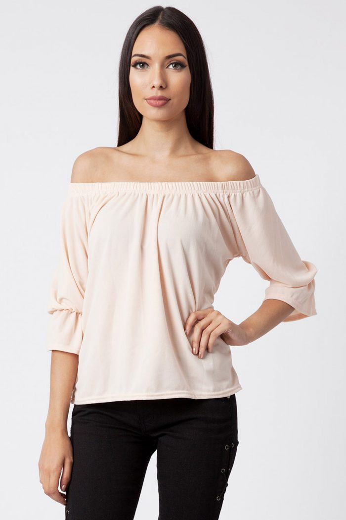 Nude Off The Shoulder Bell Sleeve Top