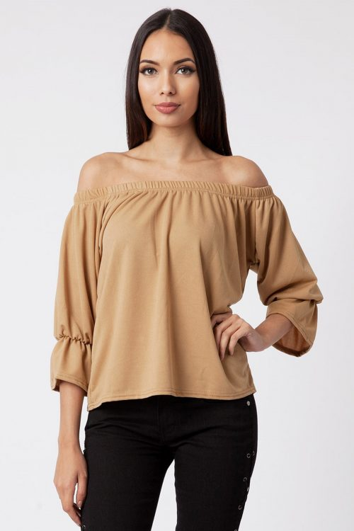 Camel Off The Shoulder Bell Sleeve Top