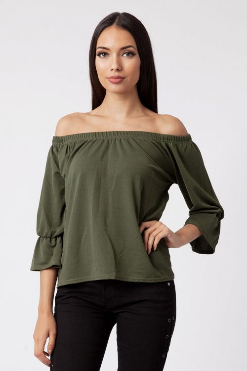 Mia Khaki Off The Shoulder Bell Sleeve Top