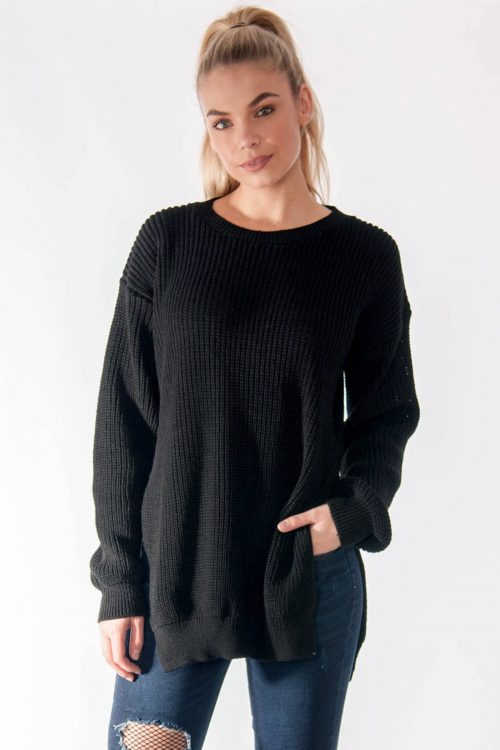 Ria Black Round Neck Side Split Knitted Jumper