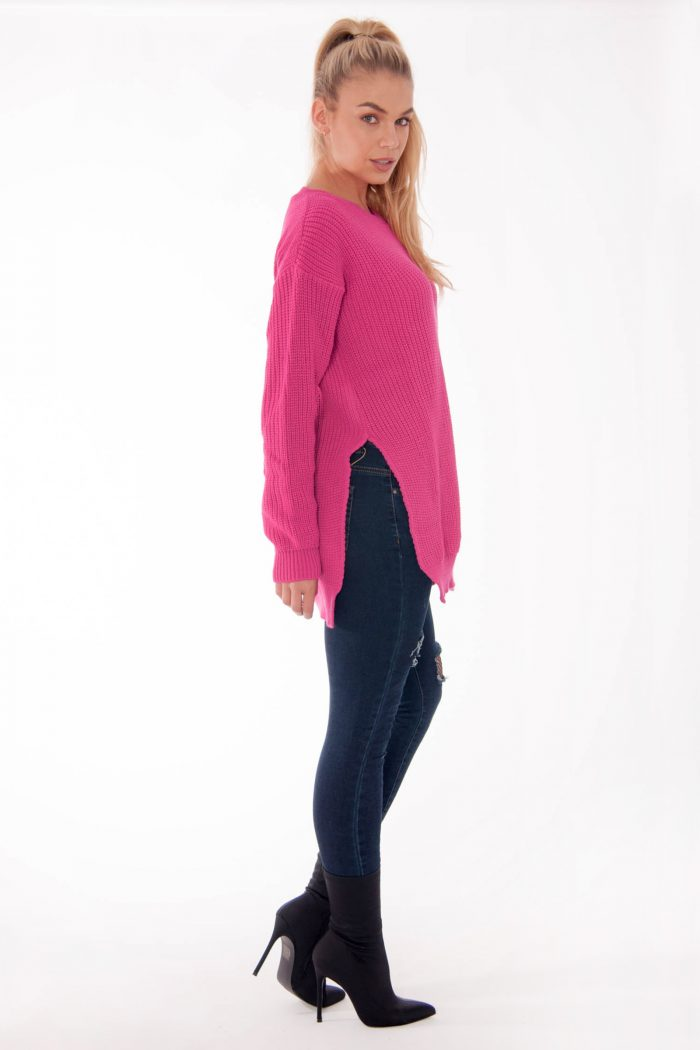 Cerise Round Neck Side Split Knitted Jumper
