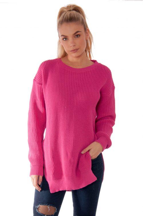 Cerise Round Neck Side Split Knitted Jumper