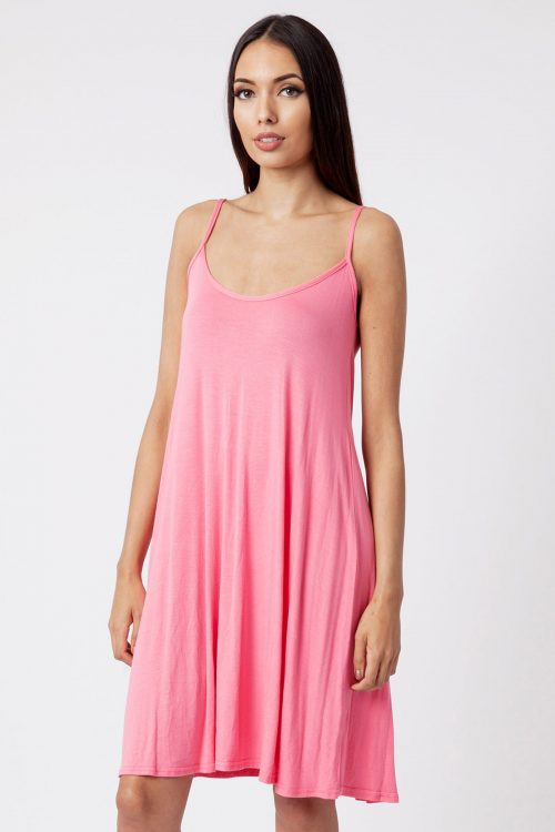 coral strappy cami dress