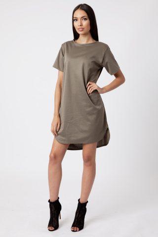 Khaki Ponte Shift Dress