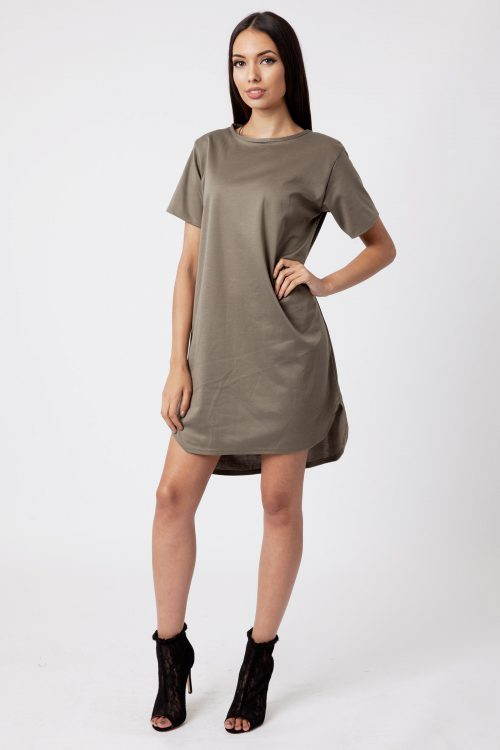 Khaki Ponte Shift Dress