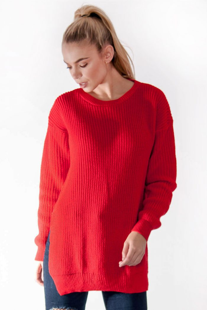 Ria Red Round Neck Side Split Knitted Jumper