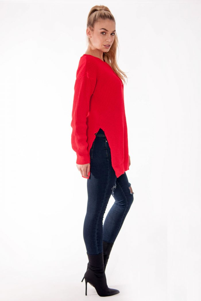 Red Round Neck Side Split Knitted Jumper