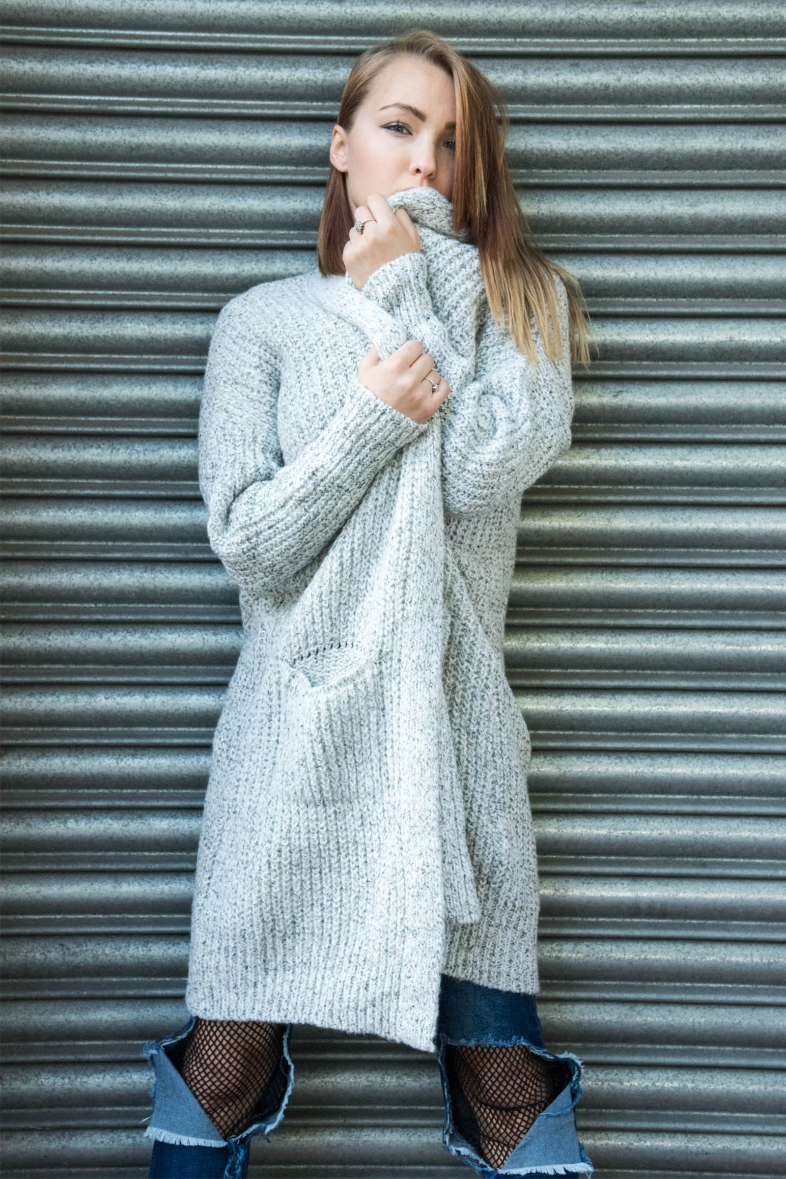 Ria Grey Long Knitted Cardigan