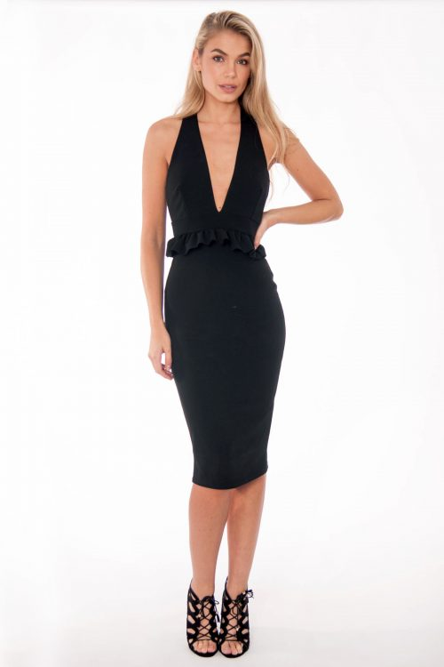 Bella Black Halter Neck Ruffle Dress