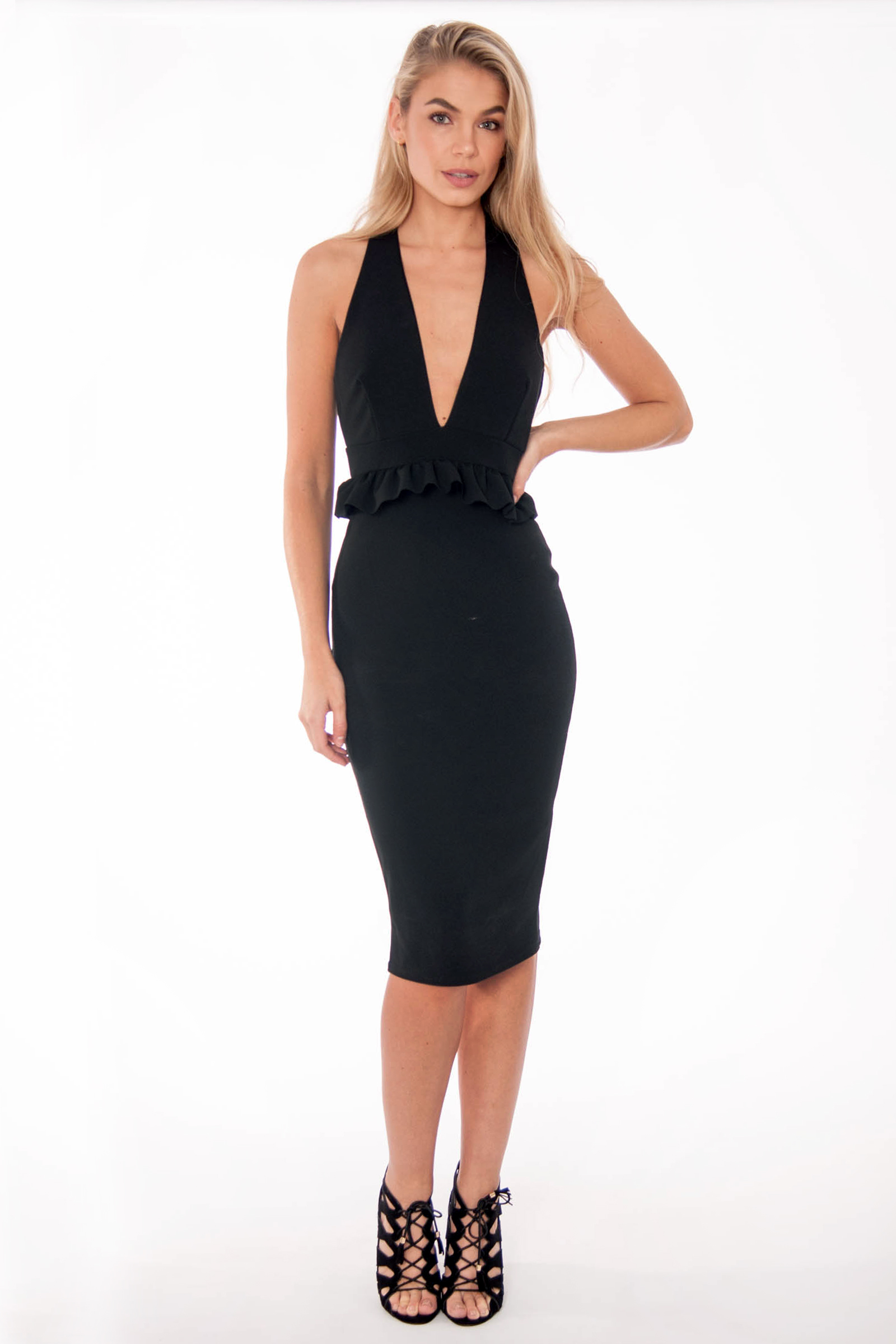 Black Halter Neck Ruffle Dress | Party