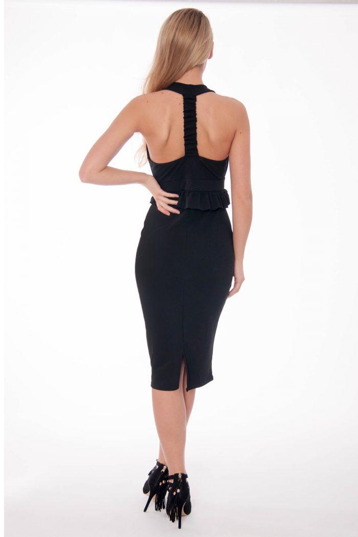 Bella Black Halter Neck Ruffle Dress
