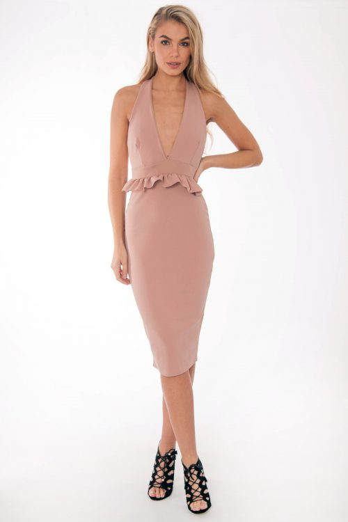 Bella Nude Halter Neck Ruffle Dress
