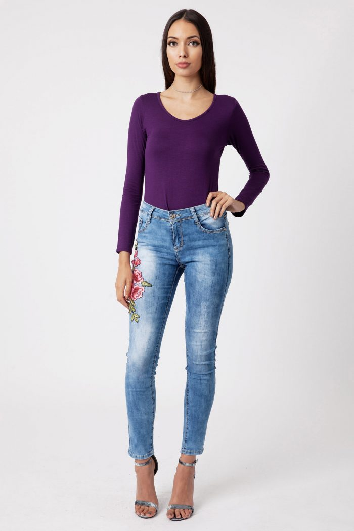 Brielle Purple Long Sleeve Scoop Neck Bodysuit