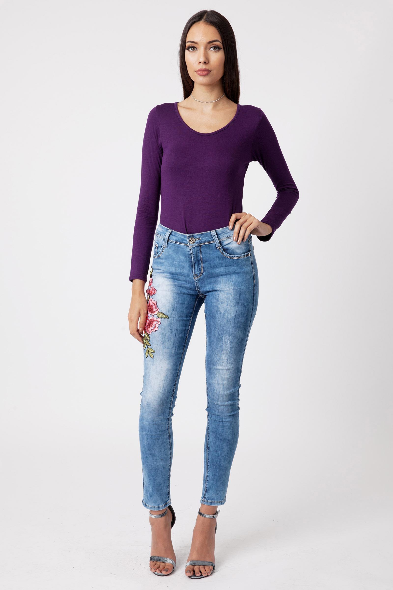 Purple Long Sleeve Scoop Neck Bodysuit |bodysuits Modamore