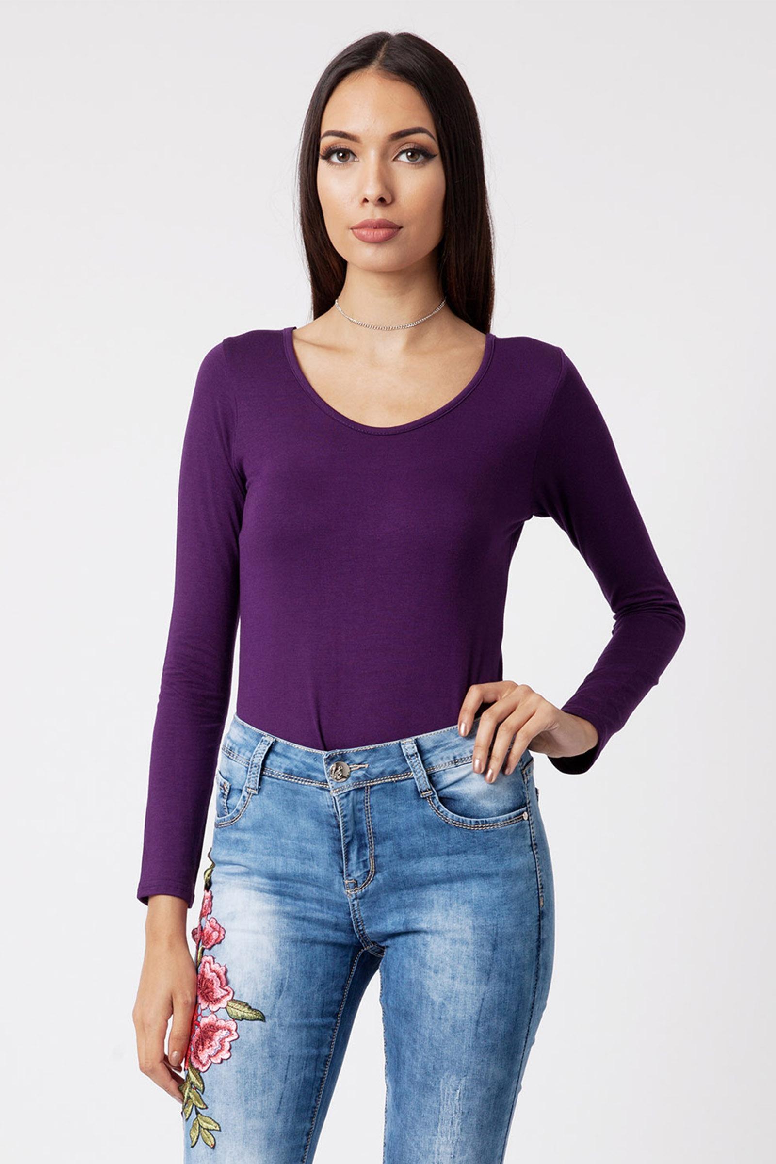 62db40b242 Product Details  Purple Long Sleeve Scoop Neck Bodysuit ...