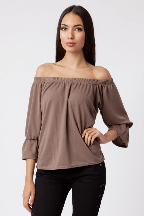 Mocha Off The Shoulder Bell Sleeve Top