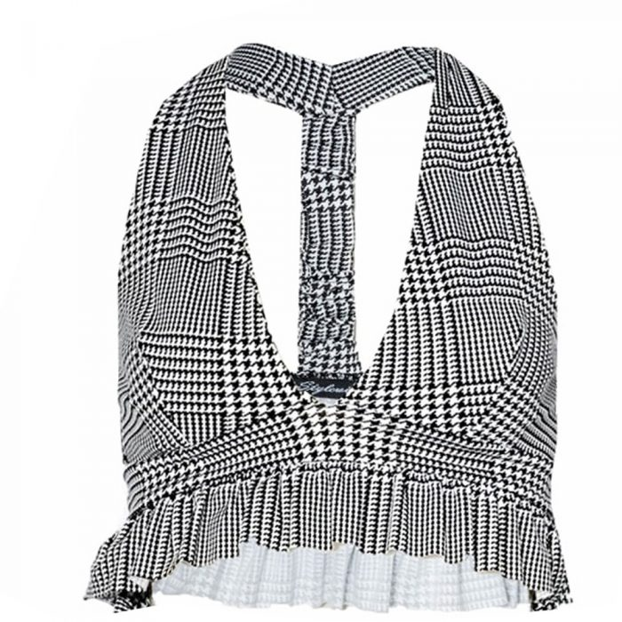 Sia Gingham Check Ruffle Crop Top