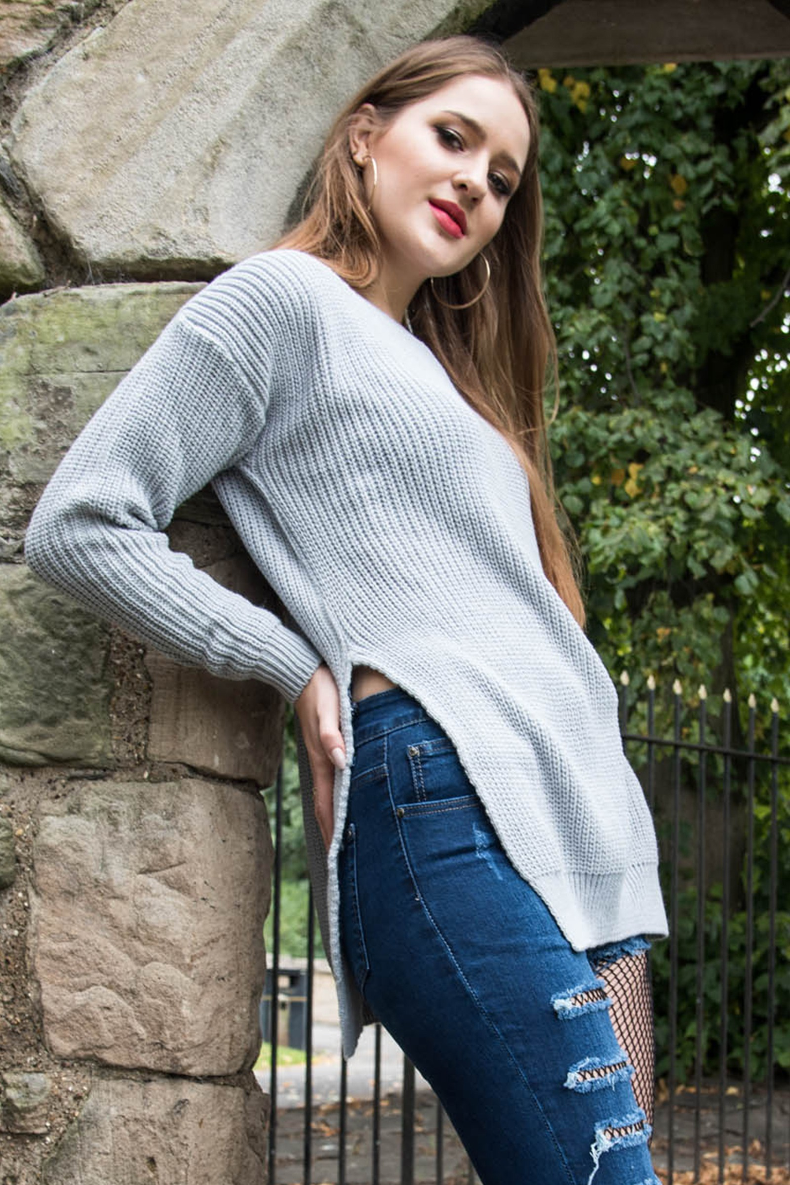 Ria Grey Round Neck Side Split Knitted Jumper