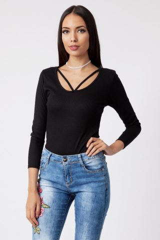 Shannon Strappy Scoop Neck Long Sleeve Bodysuit