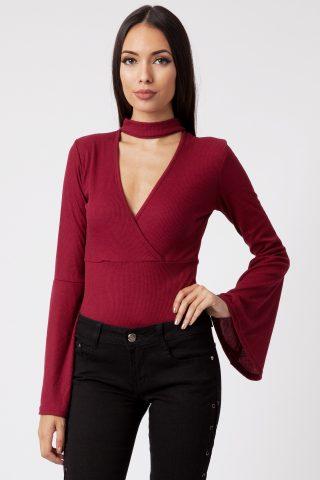 Iya Wine Rib Choker Plunge Flute Long Sleeve Bodysuit