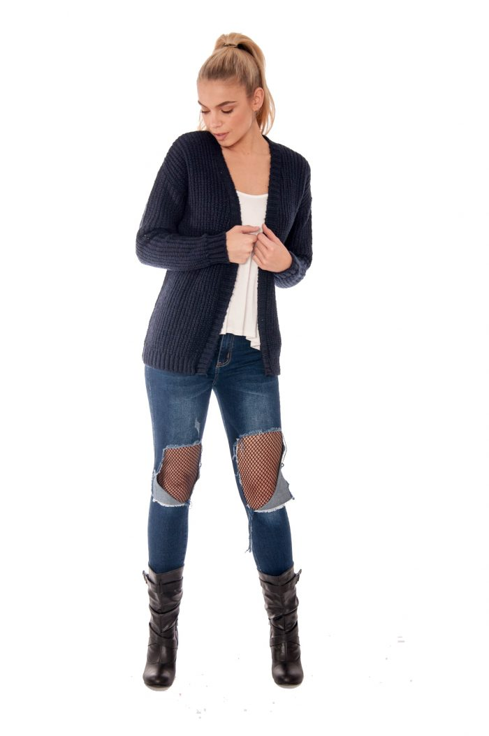 Rhianna Navy Knitted Cardigan