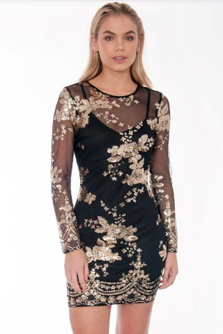 Black And Gold Floral Sequin Bodycon Dress