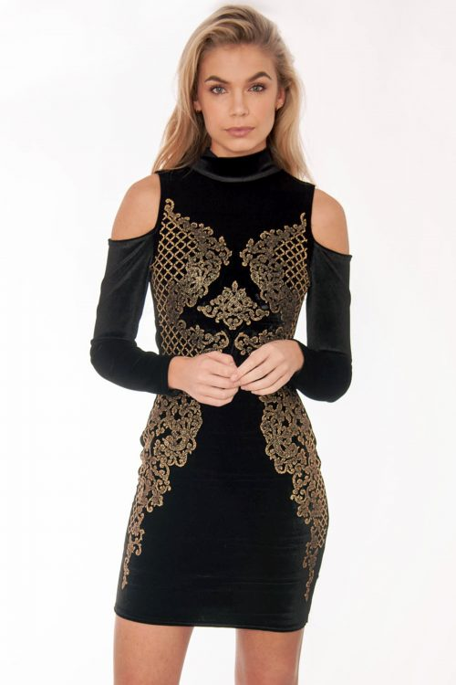 Black And Gold Velvet Beaded Bodycon Dress