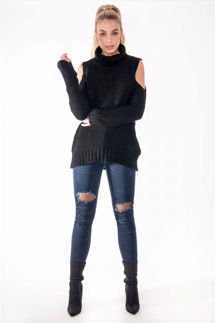 Tina Black Cold Shoulder Knitted Jumper