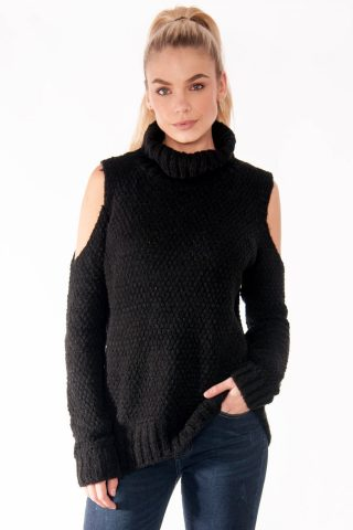 Tina Black Cold Shoulder Knitted Jumper