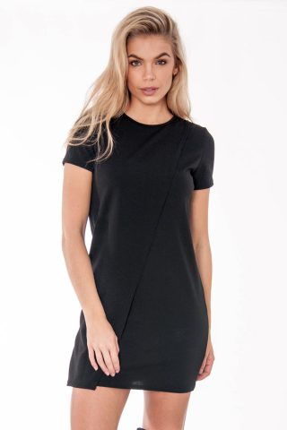 Tabitha Black Wrap Over Shift Mini Dress