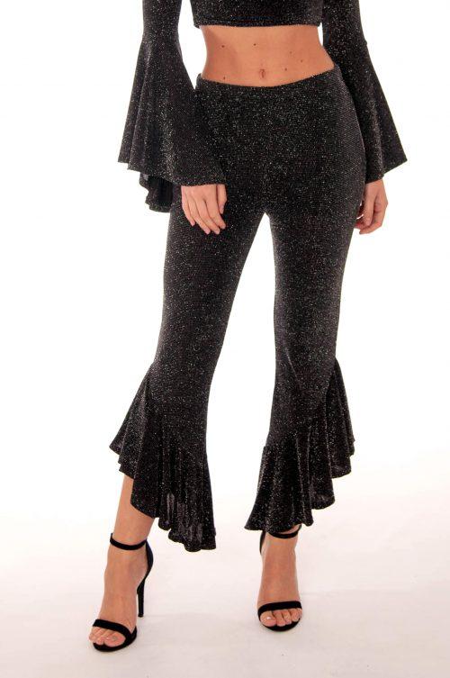 black silver lurex glitter flared trousers