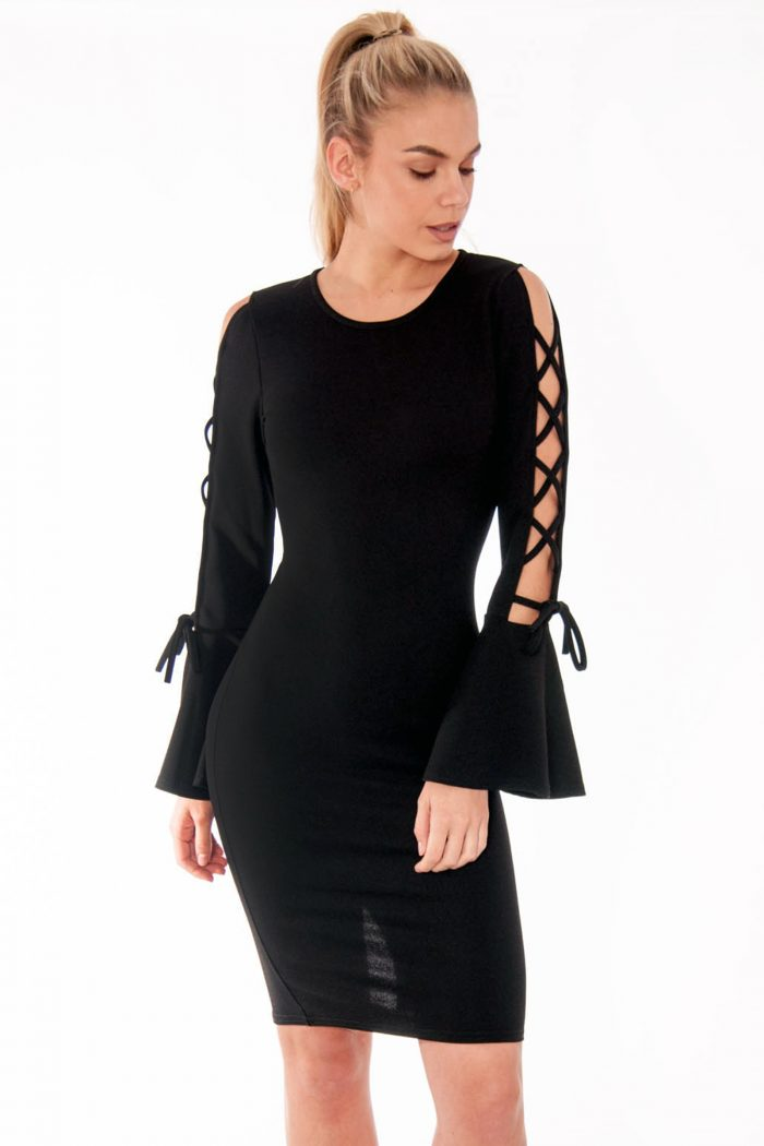 Katy Black Lace Up Bell Sleeve Dress