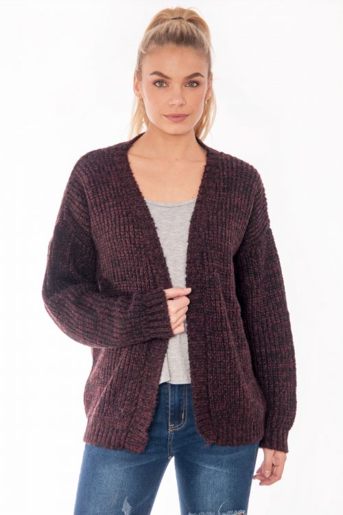Rhianna Burgundy Knitted Cardigan