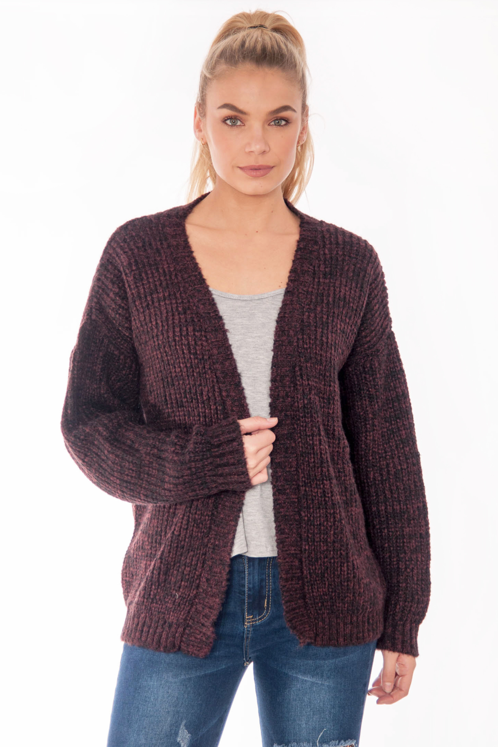 bf0f60103c Product Details  Burgundy Knitted Cardigan ...