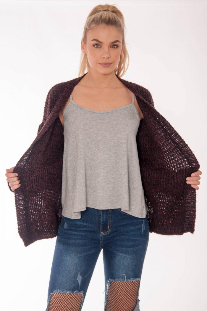 Rhianna Burgundy Knitted Cardigan