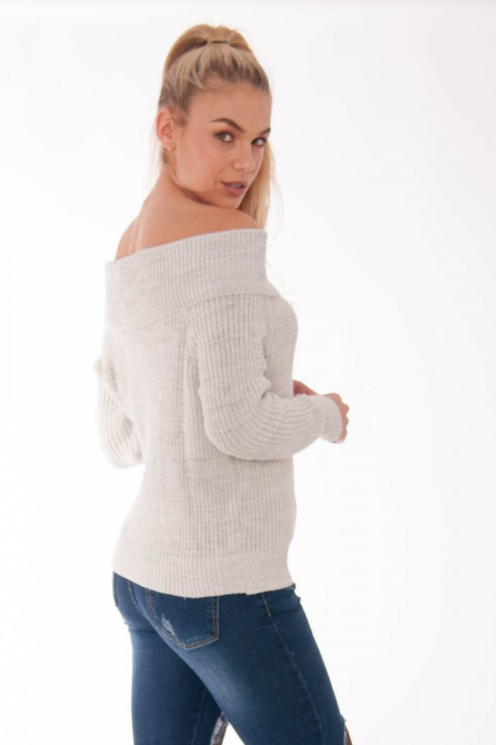 grey off the shoulder jumper
