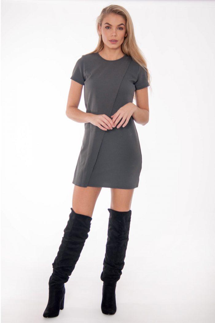 Tabitha Grey Wrap Over Shift Mini Dress