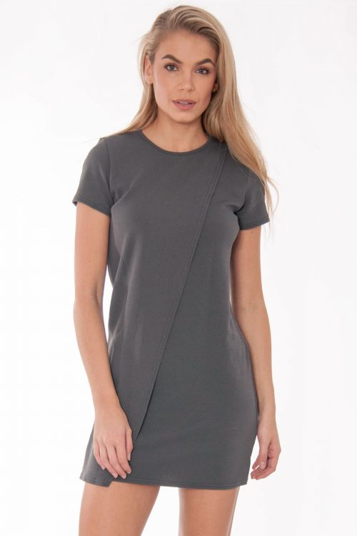 Tabitha Grey Wrap Over Shift Mini Dress