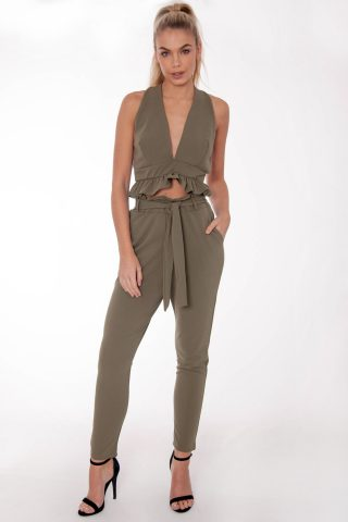 Gabi Khaki Frill Co Ord Set