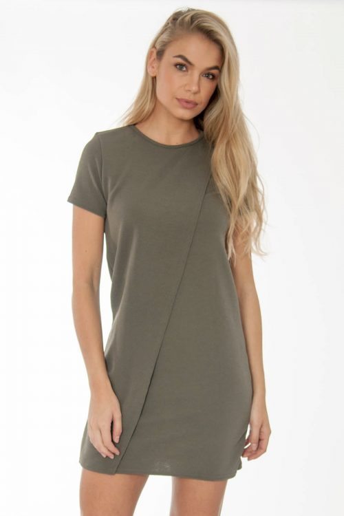 Tabitha Khaki Wrap Over Shift Mini Dress