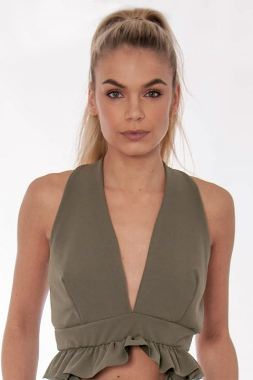 Sia Khaki Ruffle Crop Top