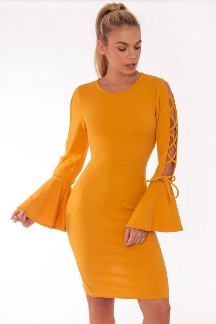 Katy Mustard Lace Up Bell Sleeved Dress
