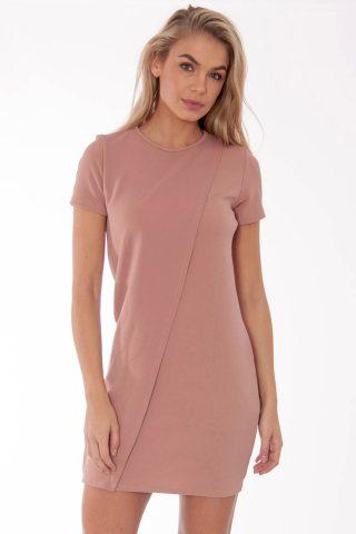 Tabitha Rose Blush Wrap Over Shift Mini Dress