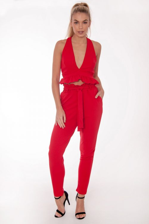 Gabi Red Frill Co Ord Set