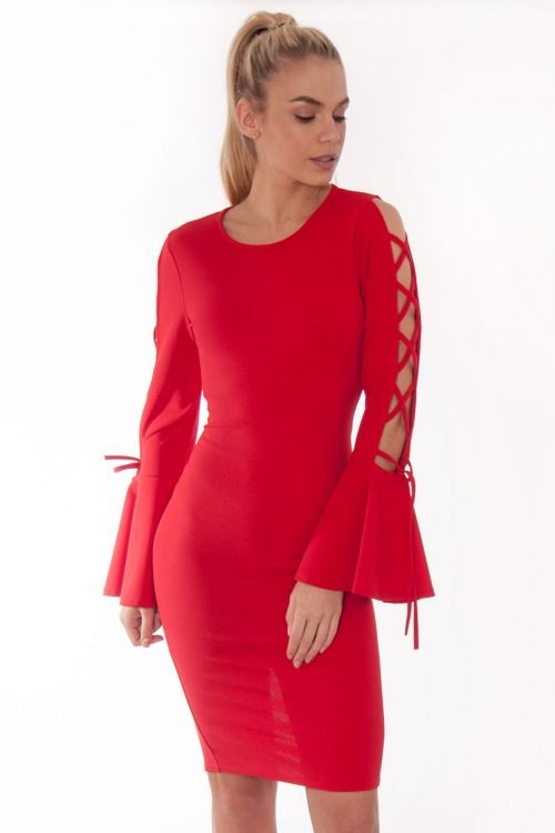 Red Lace Up Bell Sleeve Dress